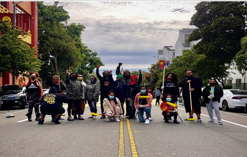 Melonie-Melorra-Green-Project-Level-lead-'Black-Lives-Matter'-700-block-Fulton-street-painting-061220-5-by-Meaghan-Mitchell-Hoodline, 100+ volunteers paint 'Black Lives Matter' in center of San Francisco street, Local News & Views