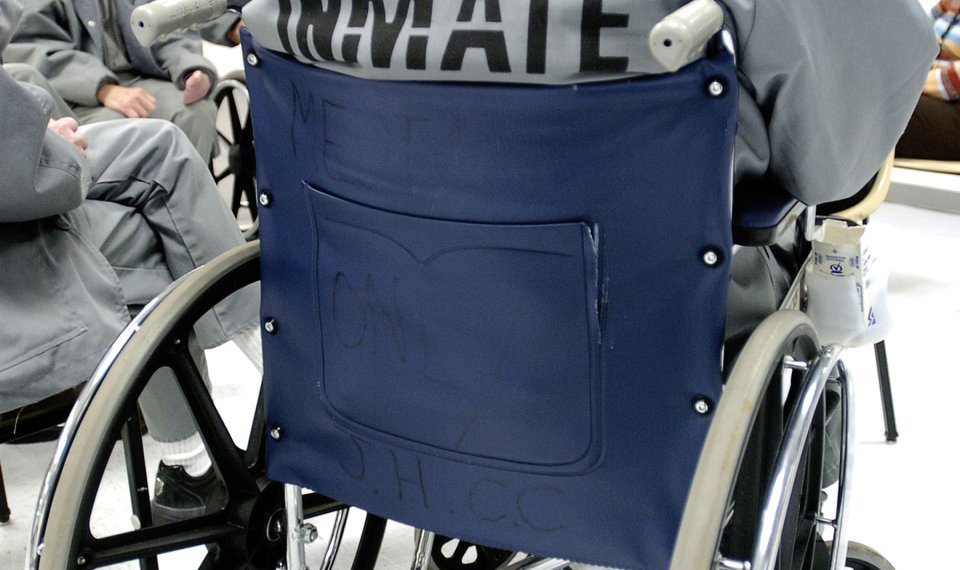 Prisoner-in-wheelchair, Emergency: Prisoner has paralyzing seizure, is refused care, then brutalized by guard, Behind Enemy Lines