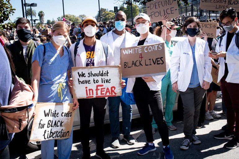 UCSF's-White-Coats-for-Black-Lives-march-w-10000-from-Mission-District-0620-by-Barbara-Ries, Frontline healthcare workers urge mass reduction in state prison population to curb coronavirus, Local News & Views