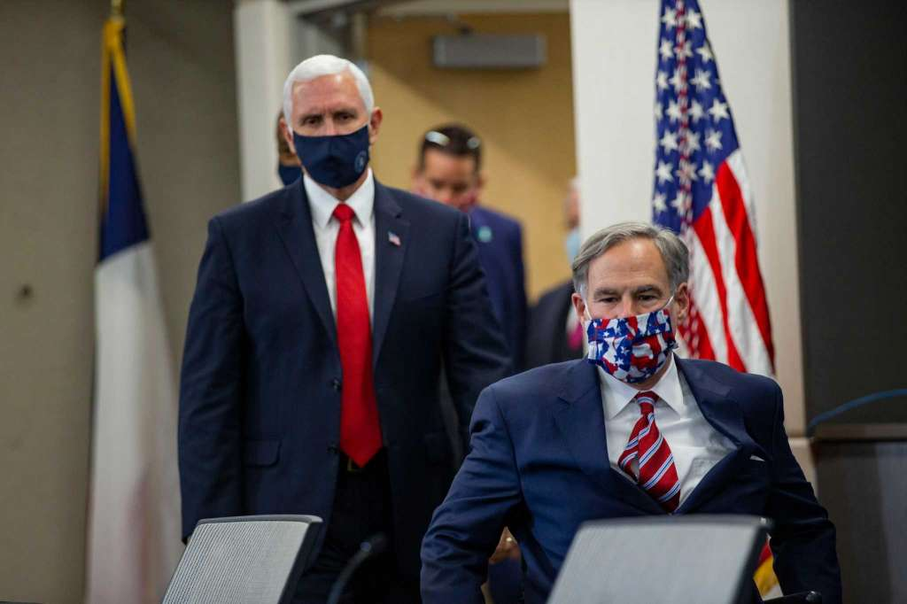 VP-Mike-Pence-Texas-Gov.-Greg-Abbott-press-conf-on-COVID-at-UT-Southwestern-Medical-Center-Dallas-062820-by-Juan-Figueroa-Dallas-Morning-News, Will Texas Gov. Greg Abbott choose to save lives or save face?, Behind Enemy Lines