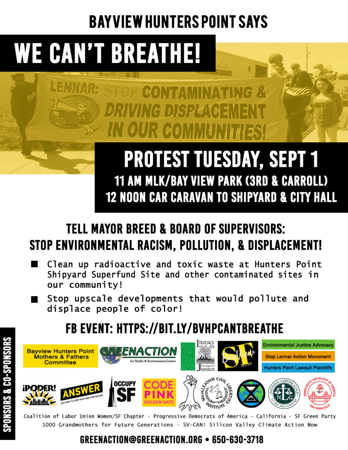 Bayview-Hunters-Point-says-We-Cant-Breathe-Greenaction-poster-for-Hunters-Point-Shipyard-protest-090120-better, Bayview Hunters Point can't breathe, Local News & Views
