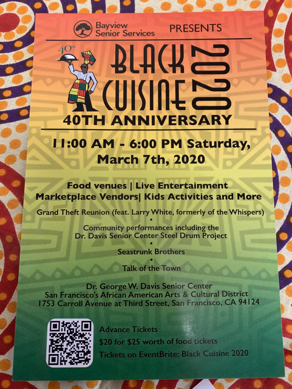 Black-Cuisine-2020-flier, We honor you, Ms. Verlie Mae Pickens, Culture Currents