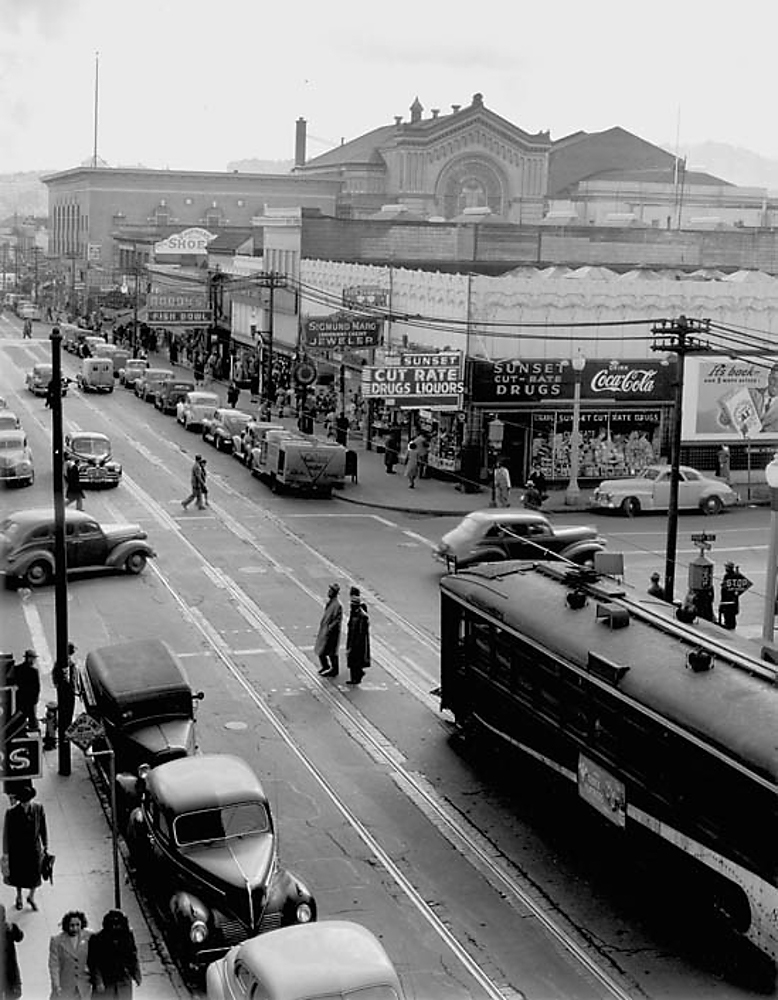 Fillmore-Street-looking-south-from-Post-Street-late-40s-by-David-Johnson, Fillmore: Harlem of the West, Culture Currents