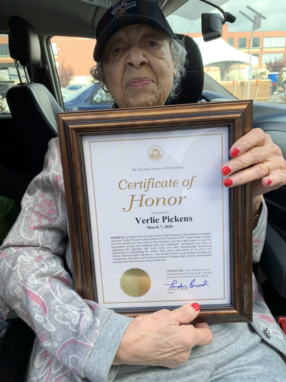 Verlie-Mae-Pickens-holds-Certificate-of-Honor-from-Mayor-London-Breed-dated-030720, We honor you, Ms. Verlie Mae Pickens, Culture Currents