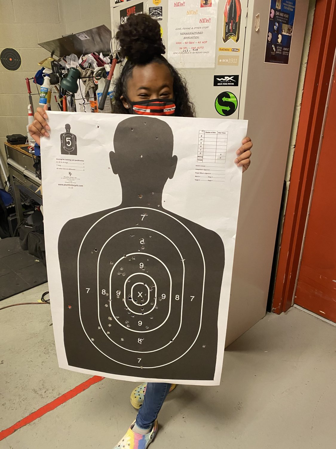 Xion-with-shooting-target-after-1st-lesson-0720, My first gun class and day at the range, Culture Currents