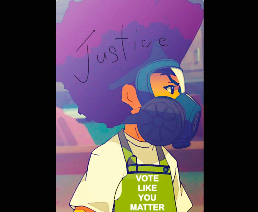 Justice-Vote-like-you-matter-lil-boy-w-gas-mask, Bay View Voter Guide for November 2020, Local News & Views