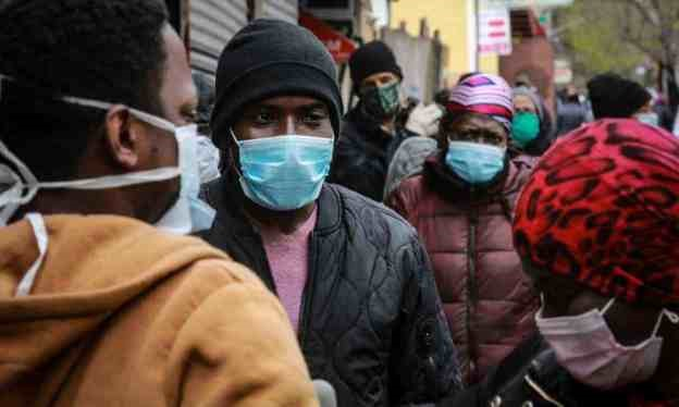 People-wait-for-mask-food-distribution-in-Harlem-0420-by-Bebeto-Matthews-AP, Kevin Cooper: Surviving Death Row and COVID-19 in San Quentin, Behind Enemy Lines