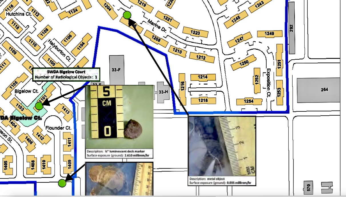 Treasure-Island-Navy-map-w-closeups-of-radiological-objects-extracted-inc-from-1206D-Mariner-Dr, Former Treasure Island resident announces hospitalization for coronavirus, implicating radioactive island dust, Local News & Views