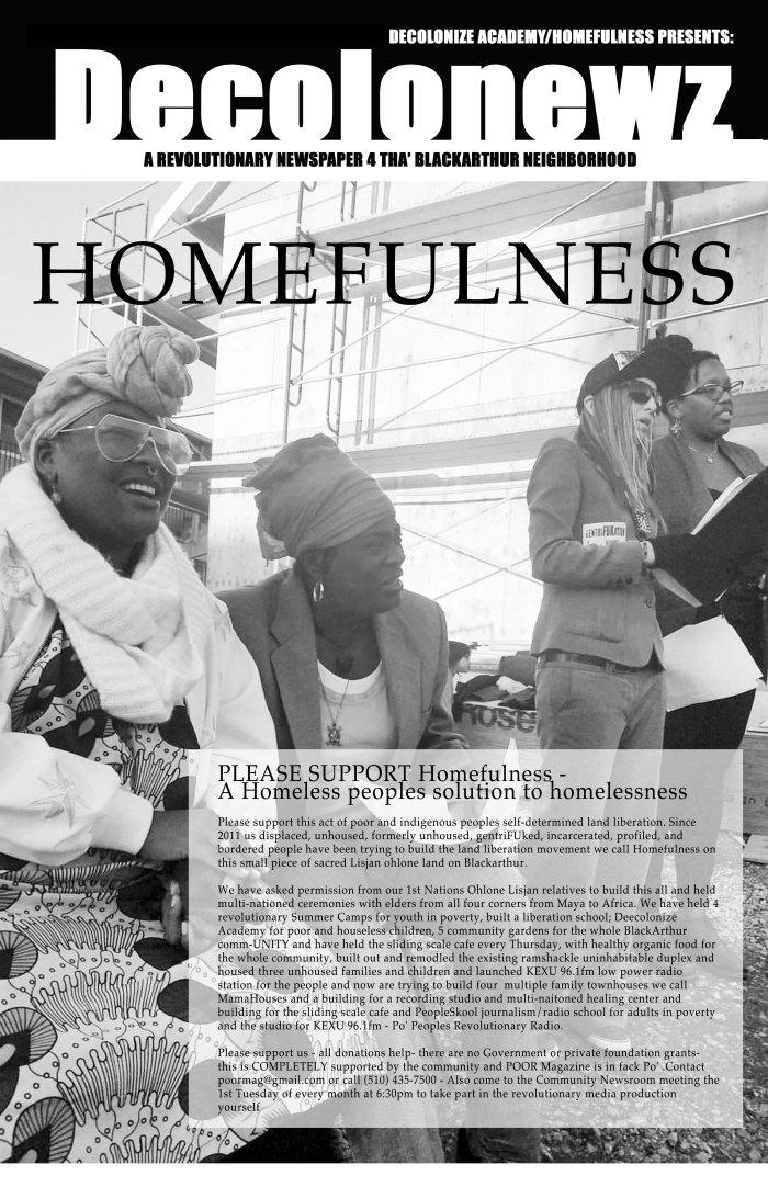 Homefulness-story-in-DecoloNewz, Encampment bans on stolen land, Local News & Views