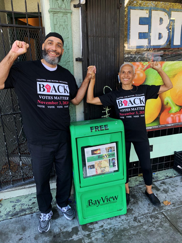 Malik-Nube-Black-Votes-Matter-Nov-3-2020-w-SFBV-rack-at-front-door-0920, Black Votes Matter!, National News & Views