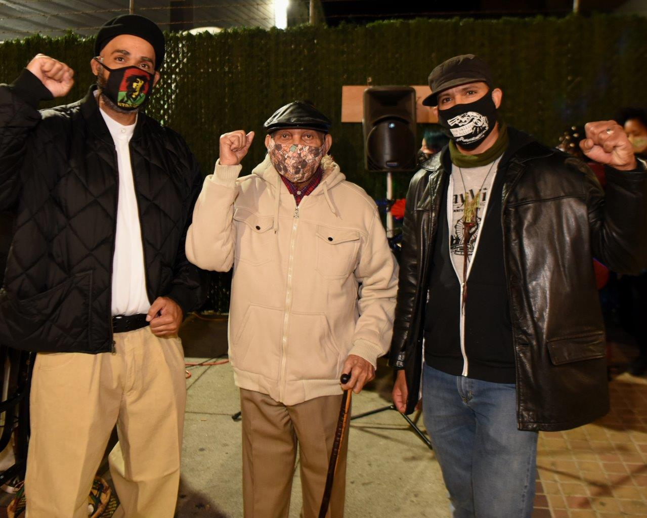 Celebrating-Bayview-Hunters-Point-Community-Malik-Willie-Jeremy-all-fists-up-112020-by-Johnnie-Burrell, A look at the Bay View's fabulously successful 2020 fundraiser!, Culture Currents