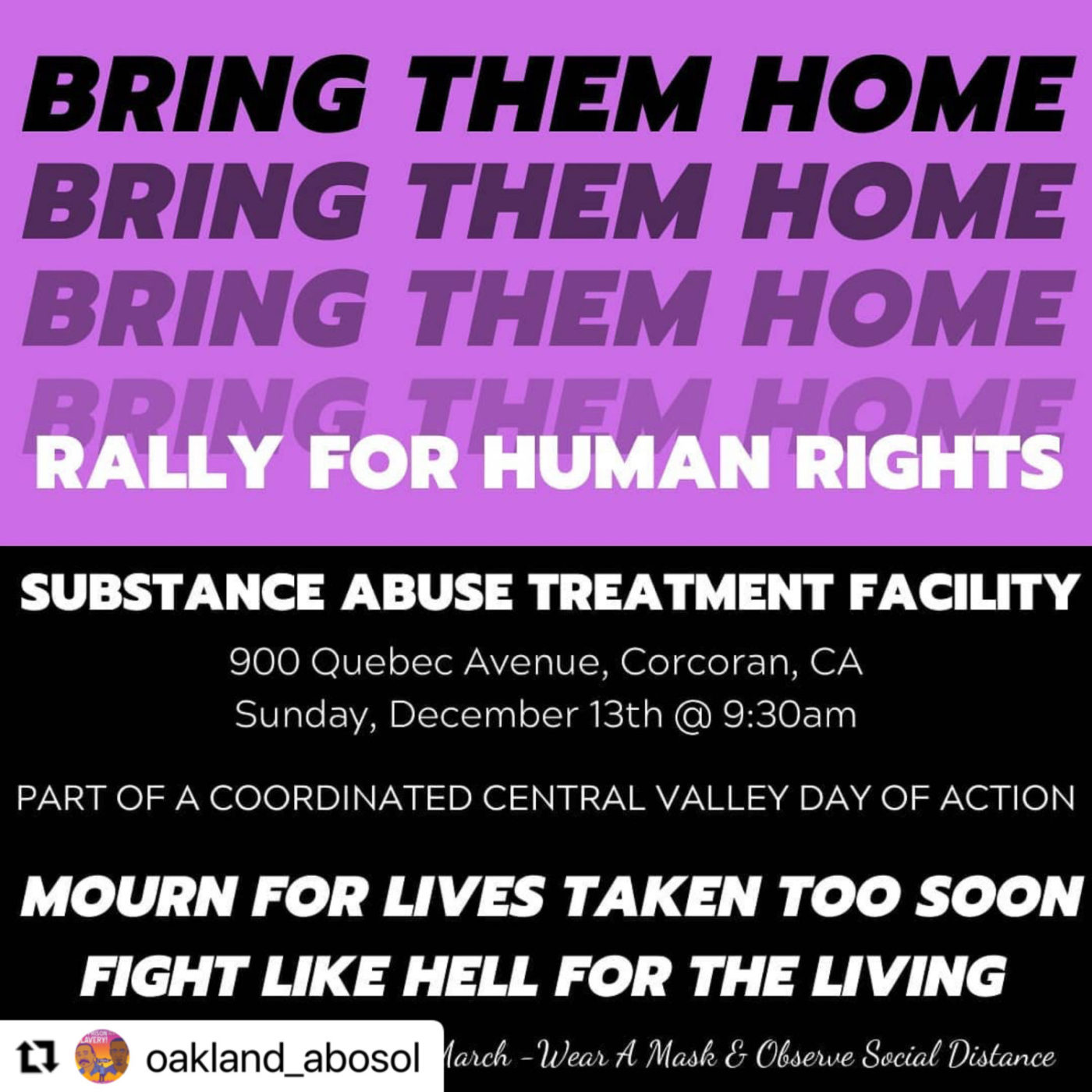 Bring-Them-Home-Rally-for-Human-Rights-flier-by-ABOSOL-1400x1400, 'They want us to get COVID; they don't care who dies': Prisoners' families stage Central Valley-wide protest Sunday, Dec. 13, Behind Enemy Lines