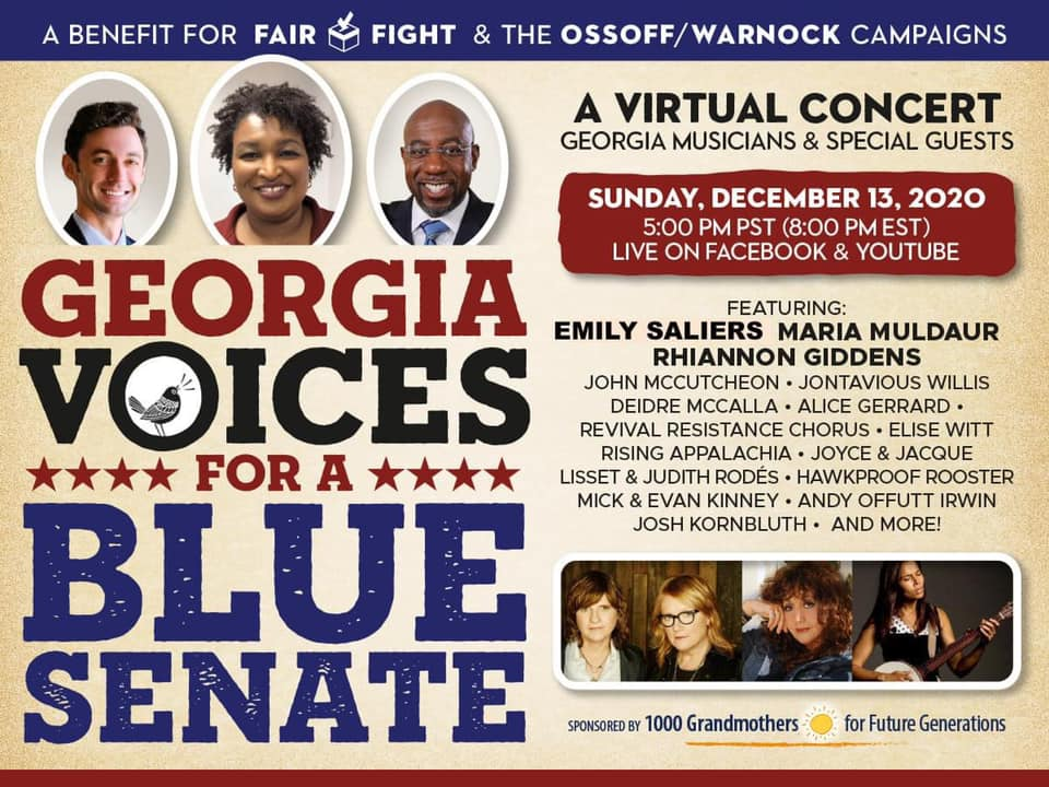 Georgia-Voices-for-a-Blue-Senate-a-virtual-Georgia-Roots-concert-1000-Grandmothers-event-121320-poster, Wanda's Picks for December 2020, Culture Currents