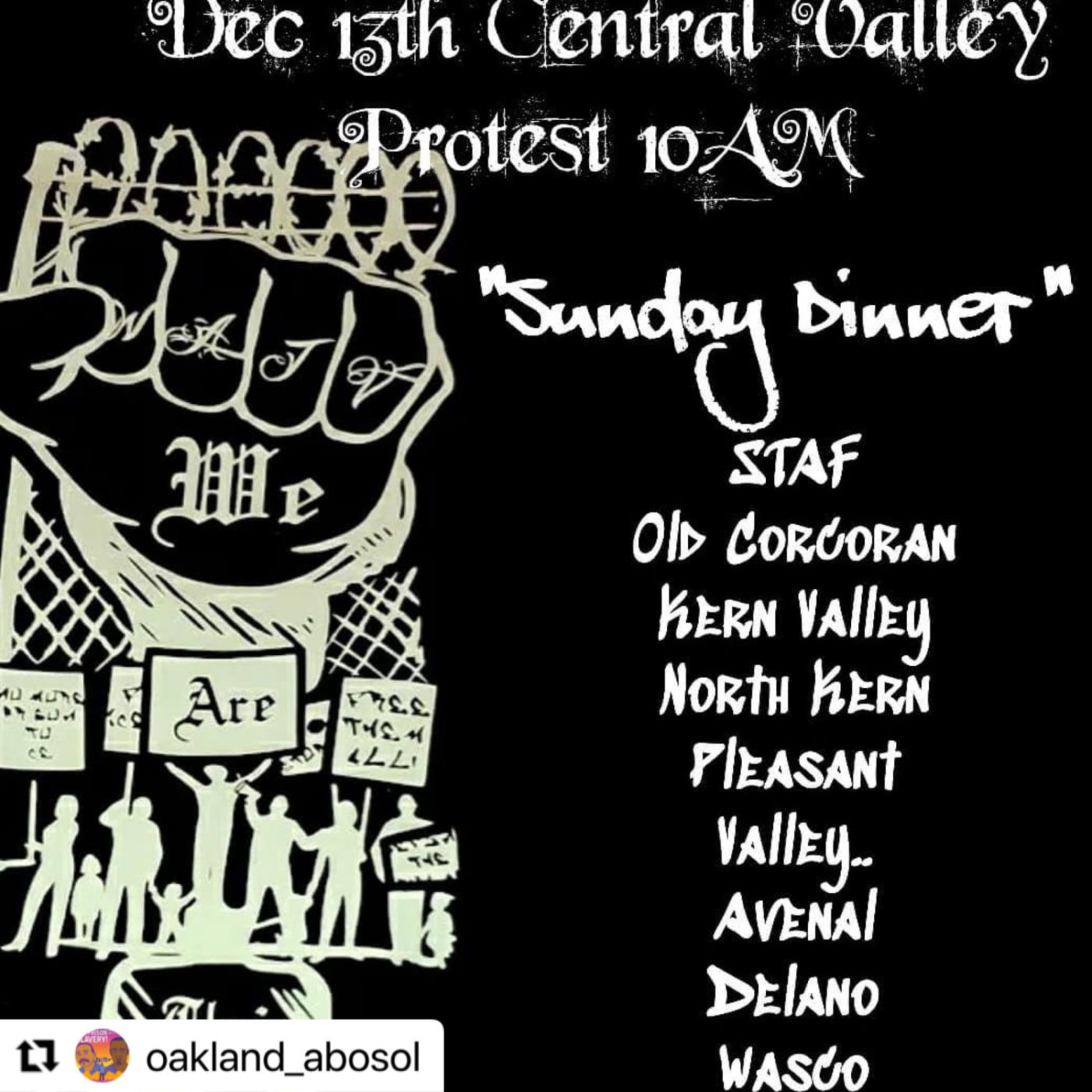 Dec-13th-Central-Valley-Protest-flier-by-ABOSOL-1400x1400, 'They want us to get COVID; they don't care who dies': Prisoners' families stage Central Valley-wide protest Sunday, Dec. 13, Behind Enemy Lines