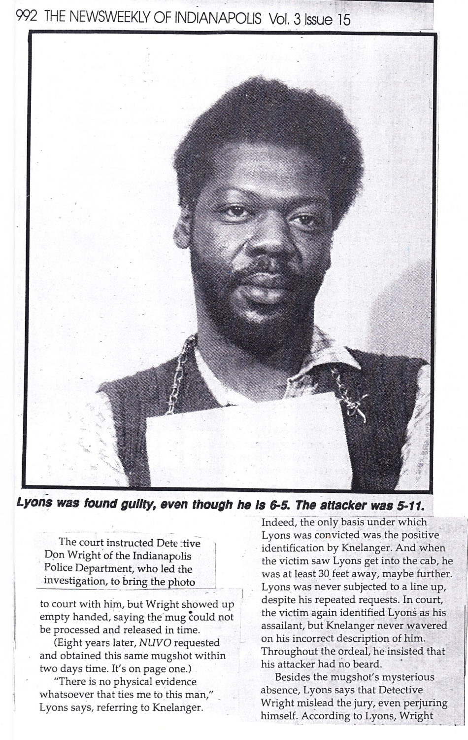 Hugh-Lyons-mugshot-article-excerpt-from-The-Newsweekly-of-Indianapolis, Lifelong fighter for prisoners' rights: Hugh Ray Lyons Jr., presente!, Behind Enemy Lines