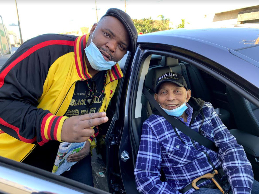 Jameel-Patterson-NCLF-peer-advisor-greets-Dr.-Willie-Ratcliff-at-Mother-Browns-on-Thanksgiving-112620-by-Nube, Mother Brown's serves up respect on the day of gratitude, Culture Currents