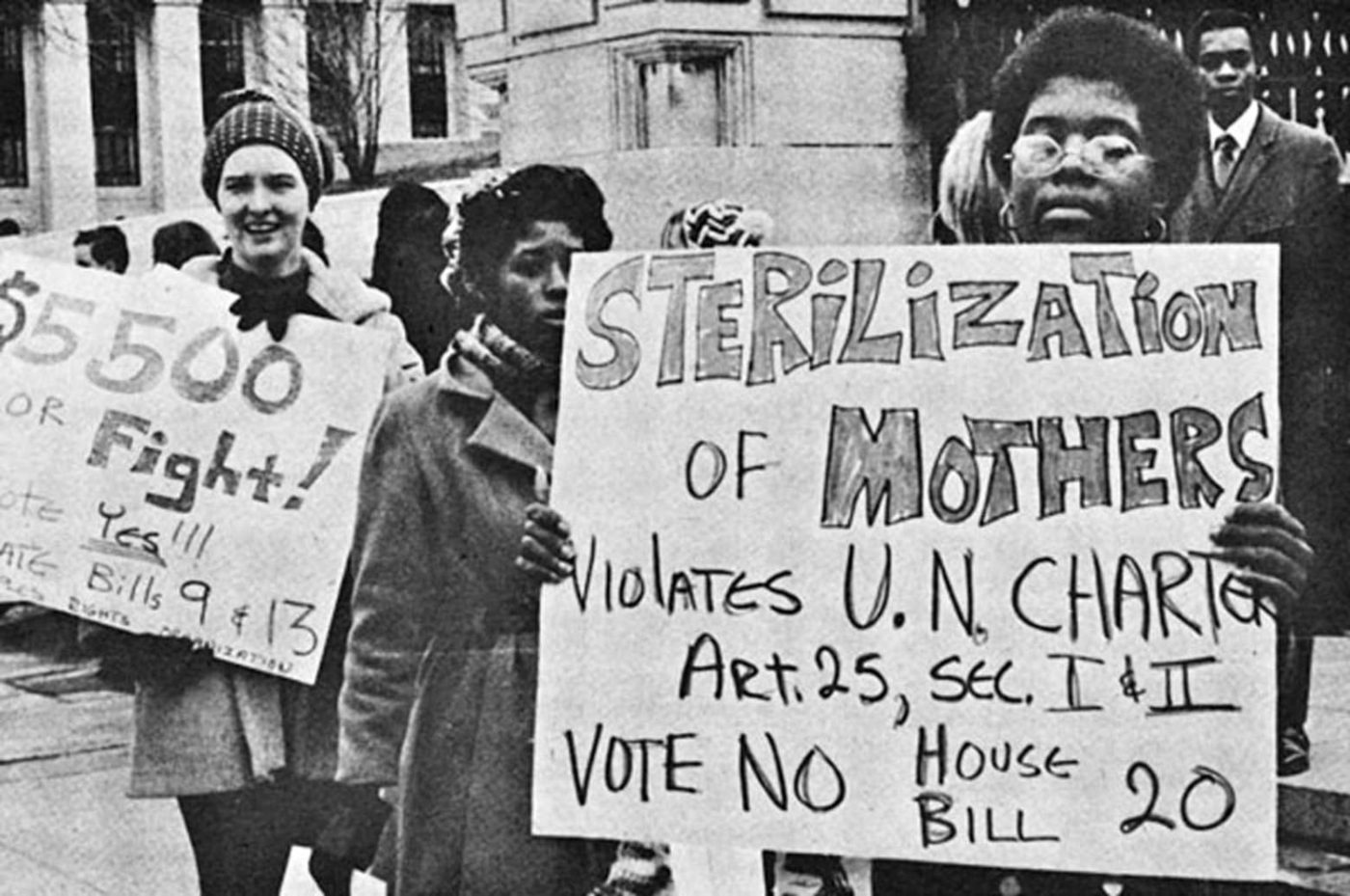 Sterilization-of-mothers-violates-UN-Charter-1971-eugenics-protestors-1400x929, The belly of the beast is orange, Behind Enemy Lines
