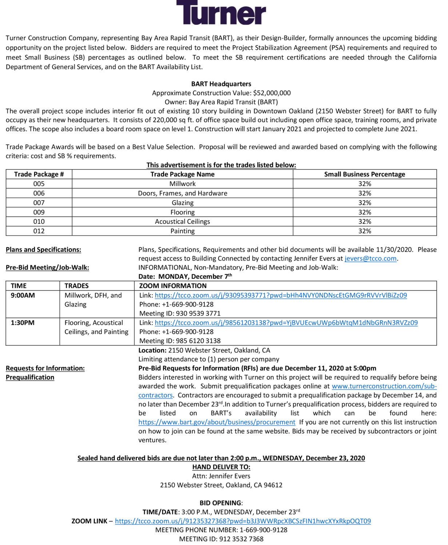Turner-BART-121020, Turner seeks bidders for BART Headquarters – bid date Dec. 23, Invitations to Bid