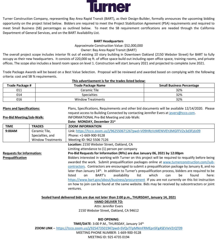 Turner-BART-121720, Turner seeks bidders for BART Headquarters – bid date Jan. 14, Invitations to Bid