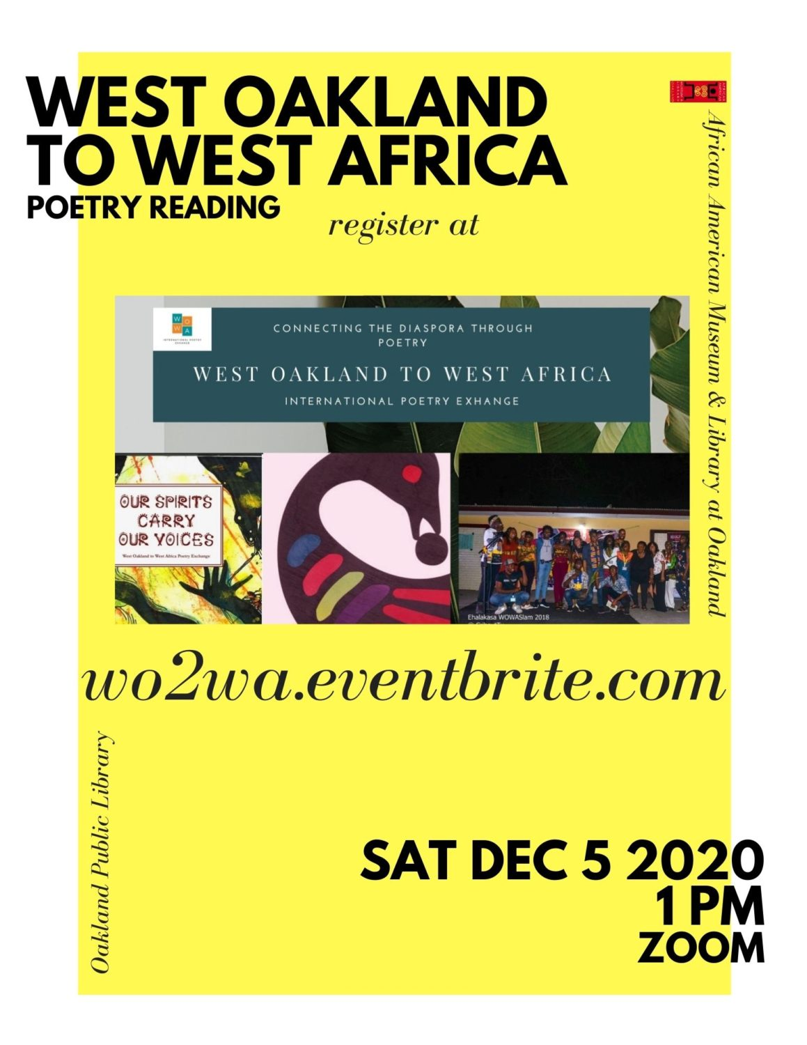 West-Oakland-to-West-Africa-Poetry-Reading-120520-flier, Wanda's Picks for December 2020, Culture Currents