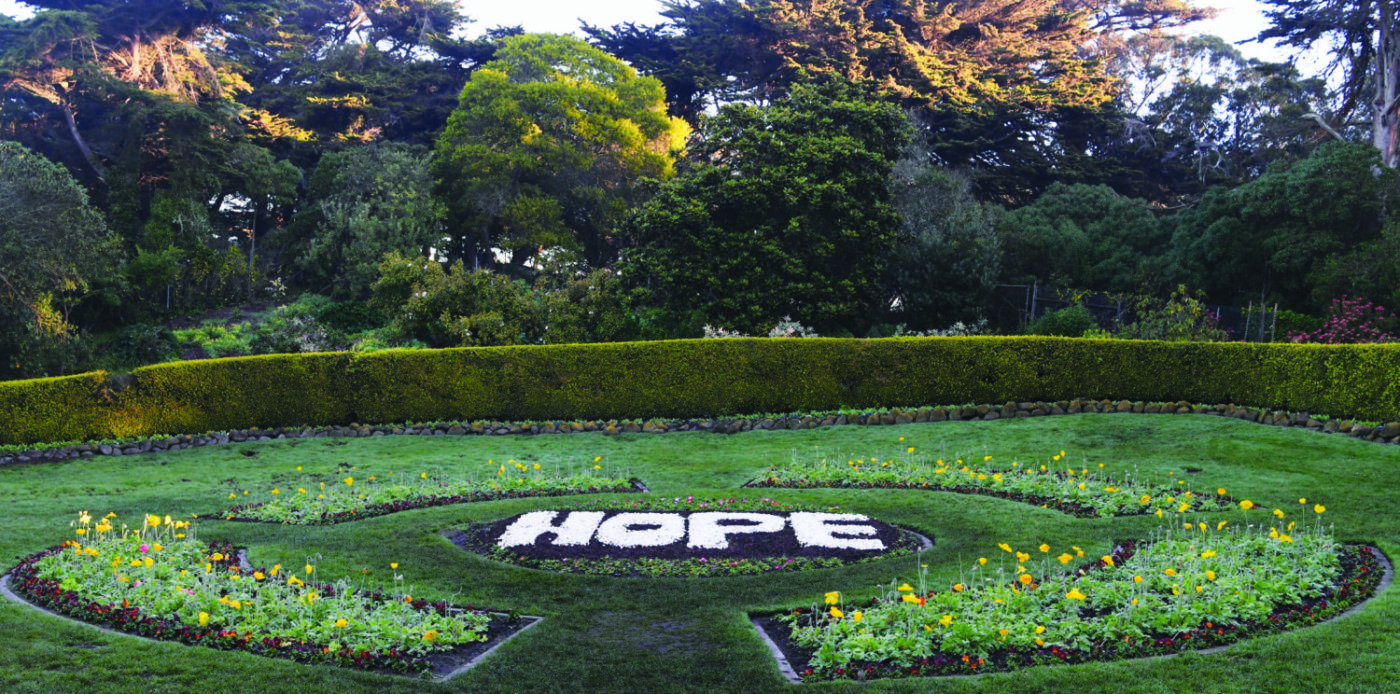 HOPE-spelled-in-flowers-early-morning-New-Years-Day-010121-Queen-Wilhemina-Garden-in-Golden-Gate-Park-by-Johnnie-Burrell-1400x694, Redemption 2021, Culture Currents