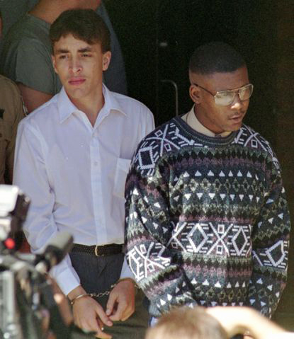 Larry-Demery-Daniel-Green-18-James-Jordan-murder-suspects-leave-courthouse-100593-by-Jim-Bounds-AP, Find the nigger guilty, Behind Enemy Lines