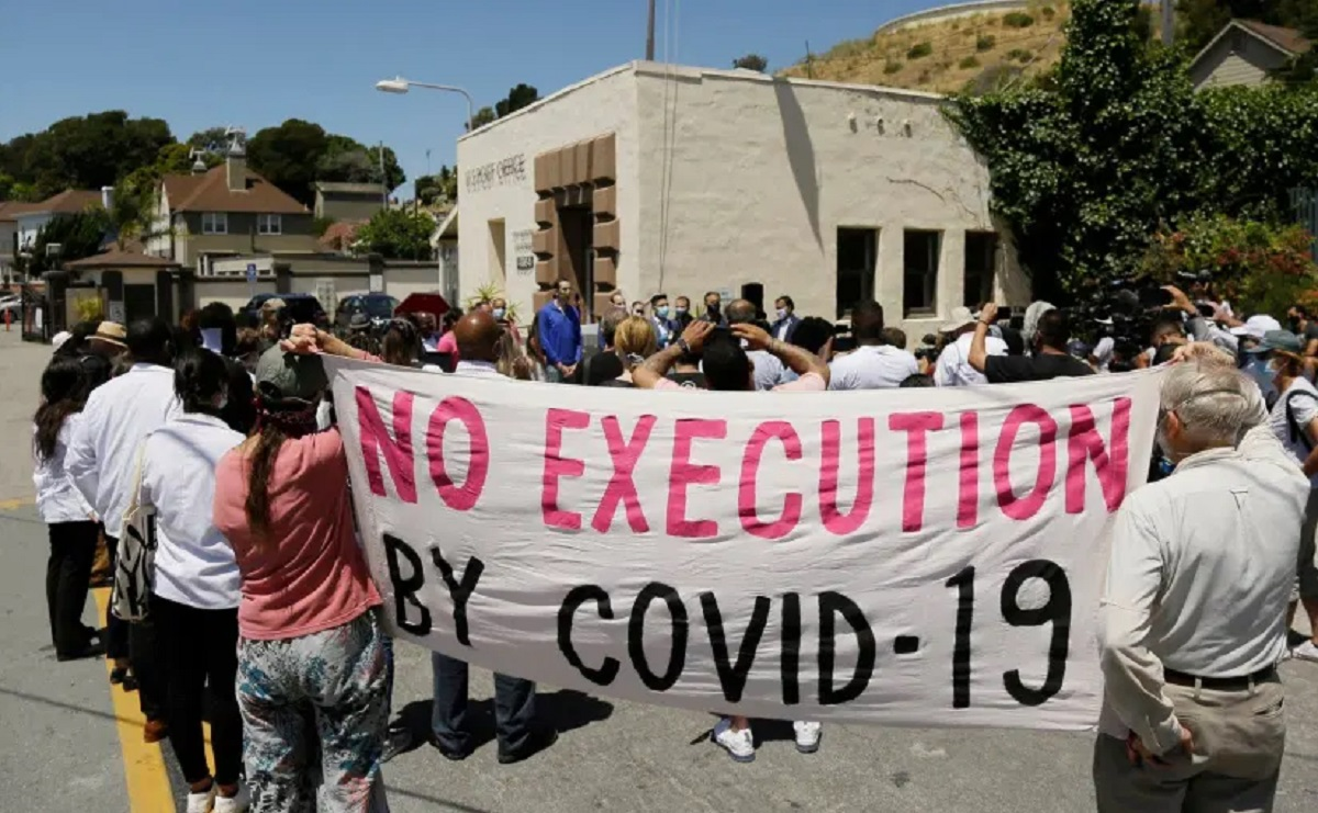 No-execution-by-COVID-19-banner-at-rally, Prisoner advocates across the country call on DOJ nominee Kristen Clarke to address urgent pandemic conditions behind bars, Featured National News & Views