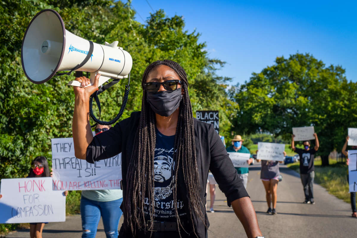 Fight-Toxic-Prisons-National-Council-for-Incarcerated-Women-march-against-FMC-Carswell-Ft-Worth-TX-080120-by-Jordan-Mazurek-Natl-Council, Unprepared for COVID, Texas women's prison was equally unprepared for Uri, Behind Enemy Lines