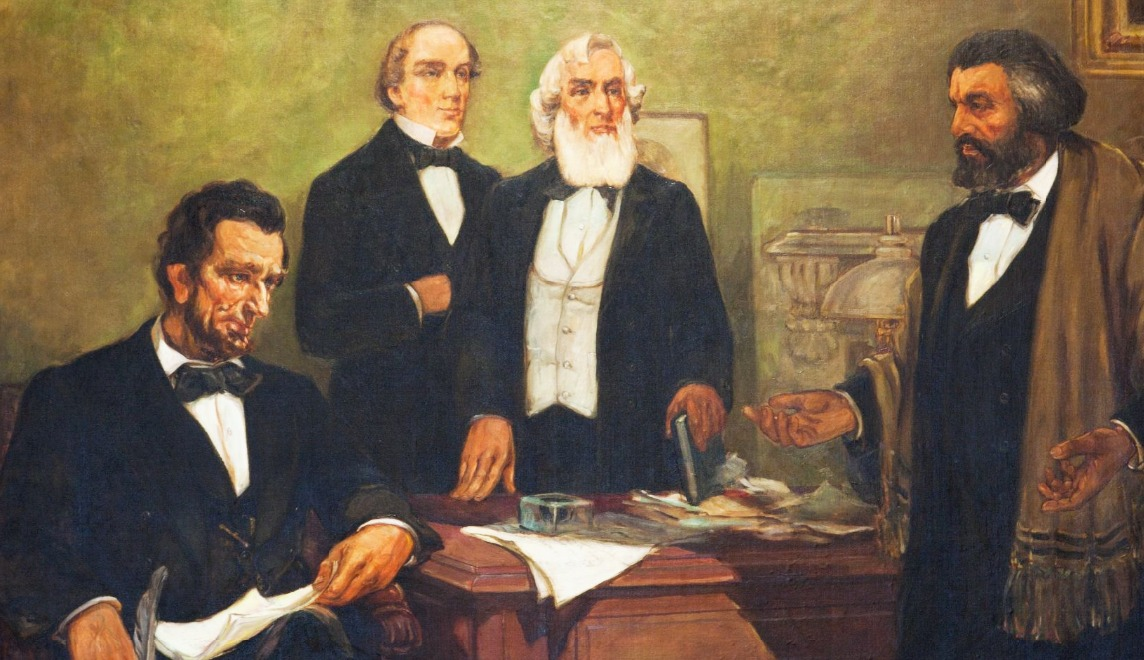Frederick-Douglass-Appealing-to-President-Lincoln-and-His-Cabinet-to-Enlist-Negroes-art-by-William-Edouard-Scott-Library-of-Congress, A Black storyteller chronicles the history of slavery and freedom, Culture Currents