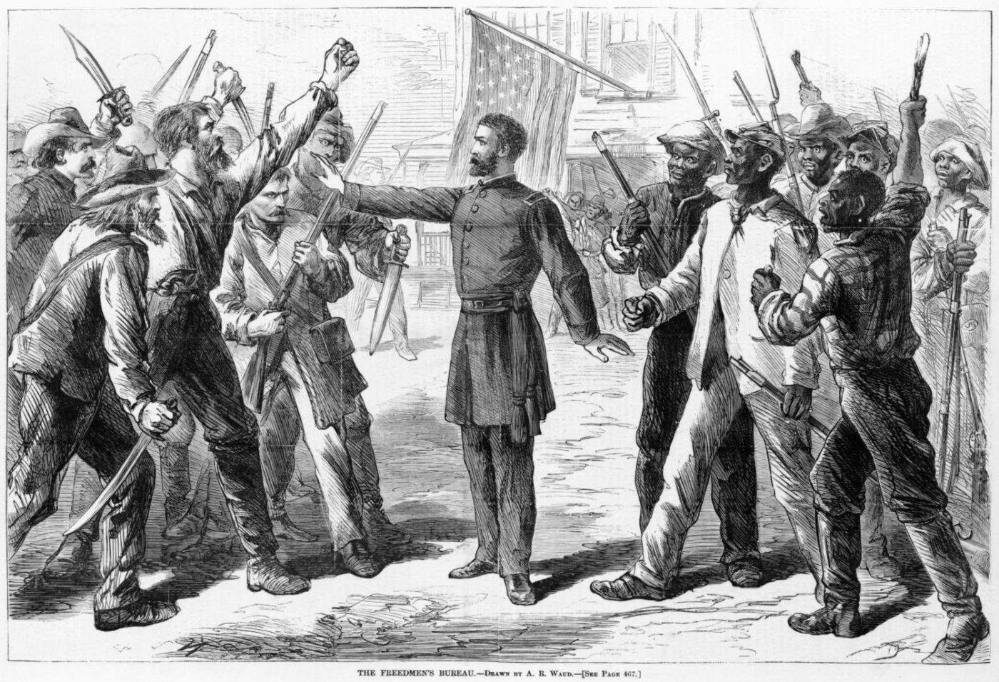 The-Freedmens-Bureau-Gen.-Shermans-40-acres-a-mule-separating-warring-whites-Blacks-art-by-Alfred-Waud-1868-Library-of-Congress-1400x955, A Black storyteller chronicles the history of slavery and freedom, Culture Currents