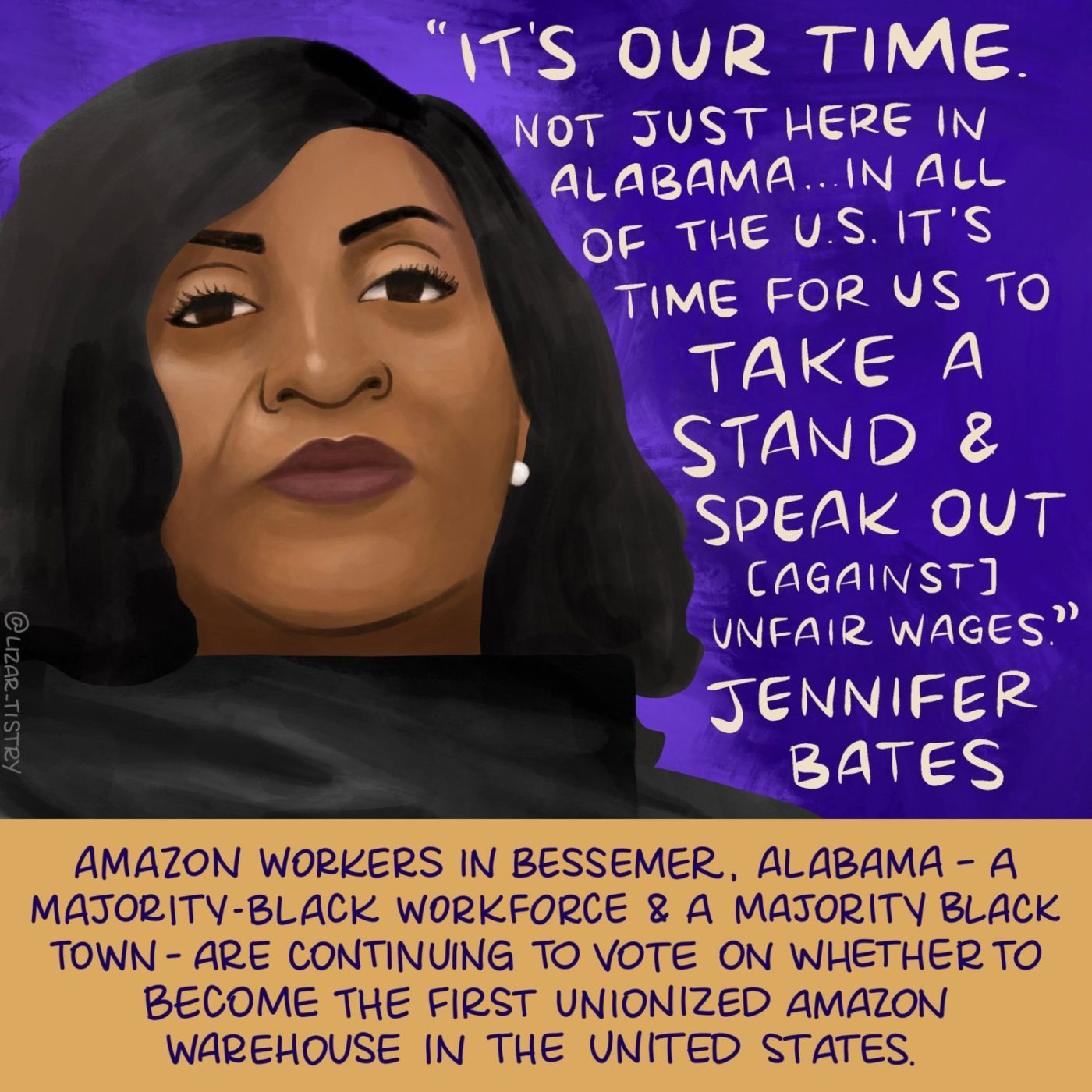 Amazon-organizer-Jennifer-Bates-Bessemer-Ala.-meme-Its-Our-Time-0321-1400x1400, Black workers lead union movement at Amazon, National News & Views