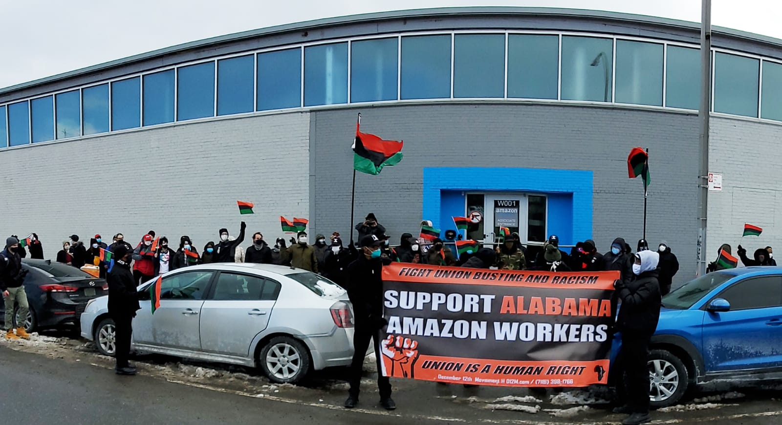 Brooklyn-New-York-Amazon-workers-support-protest-022021-2, Black Workers Matter! Nationwide protests supporting Amazon workers in Alabama from the Bay to Harlem, National News & Views Photo Gallery