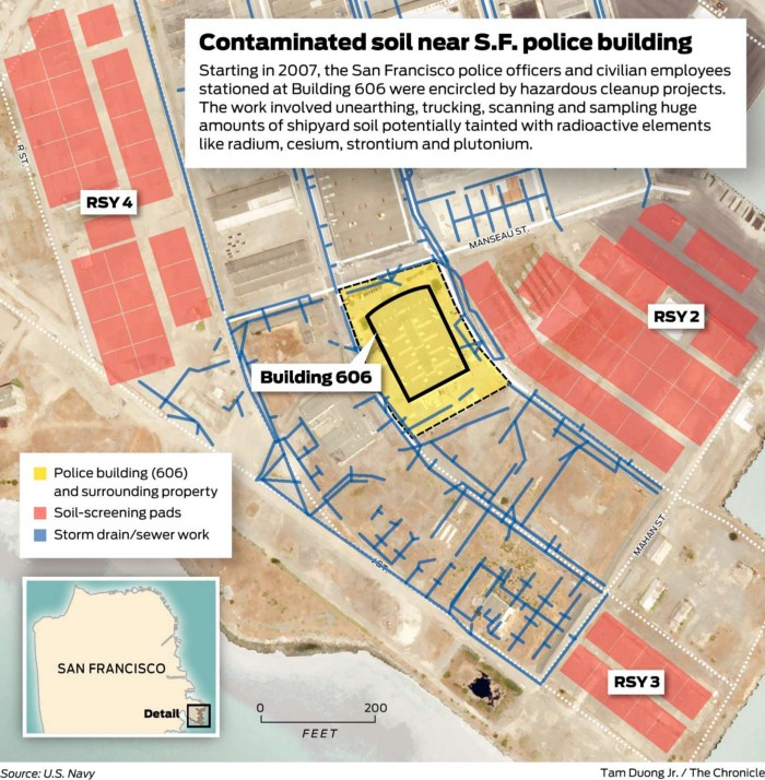Hunters-Point-Shipyard-Bldg-606-encircled-by-hazardous-cleanup-projects-map-by-Tam-Duong-Jr.-SF-Chron-source-US-Navy, Brain cancer biomonitoring in Bayview Hunters Point, Local News & Views