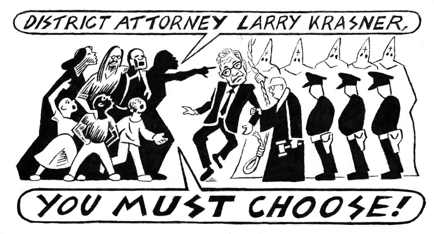 Larry-Krasner-Mumia-Abu-Jamal-decision-2021-panel-1-Seth-Tobocman-1400x756, Mumia update: The new Krasner brief, Behind Enemy Lines