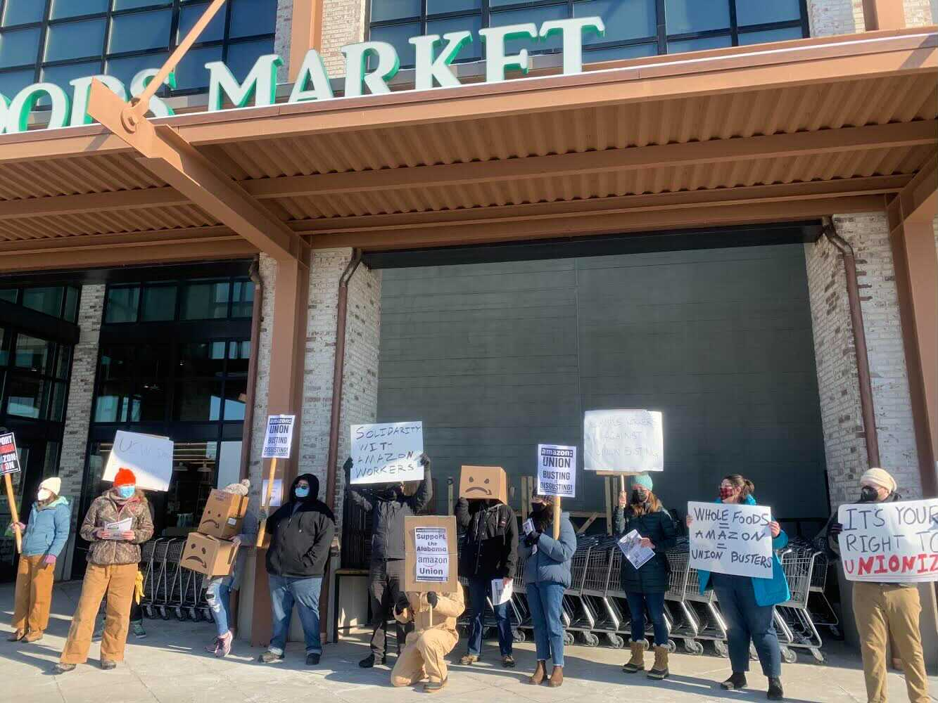 Lexington-Kentucky-Amazon-workers-support-protest-022021-1, Black Workers Matter! Nationwide protests supporting Amazon workers in Alabama from the Bay to Harlem, National News & Views Photo Gallery