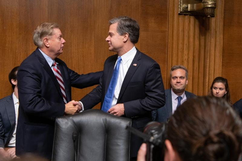 Lindsey-Graham-congratulates-FBI-Director-Christopher-Wray-at-hearing-0319, Tellin' stories about the FBI, National News & Views