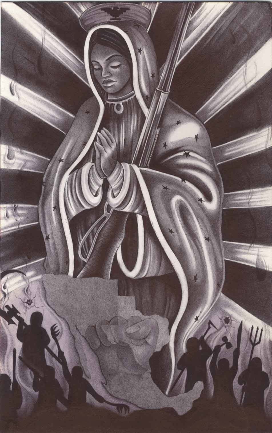 Militant-Madonna-art-by-Xinachtli-2020, Chicano political prisoner Xinachtli calls on all freedom fighters, liberation-movement organizations to unite to build the National United Front Prison Lives Matter movement, Behind Enemy Lines