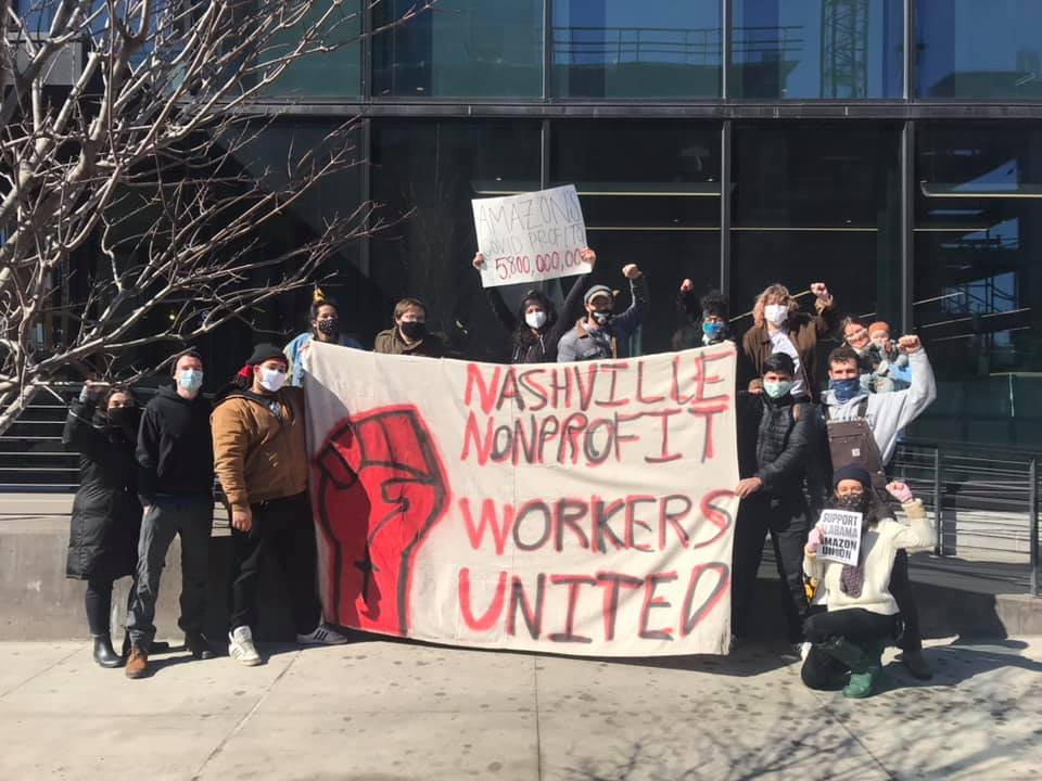 Nashville-Tennessee-Amazon-workers-support-protest-022021-2, Black Workers Matter! Nationwide protests supporting Amazon workers in Alabama from the Bay to Harlem, National News & Views Photo Gallery