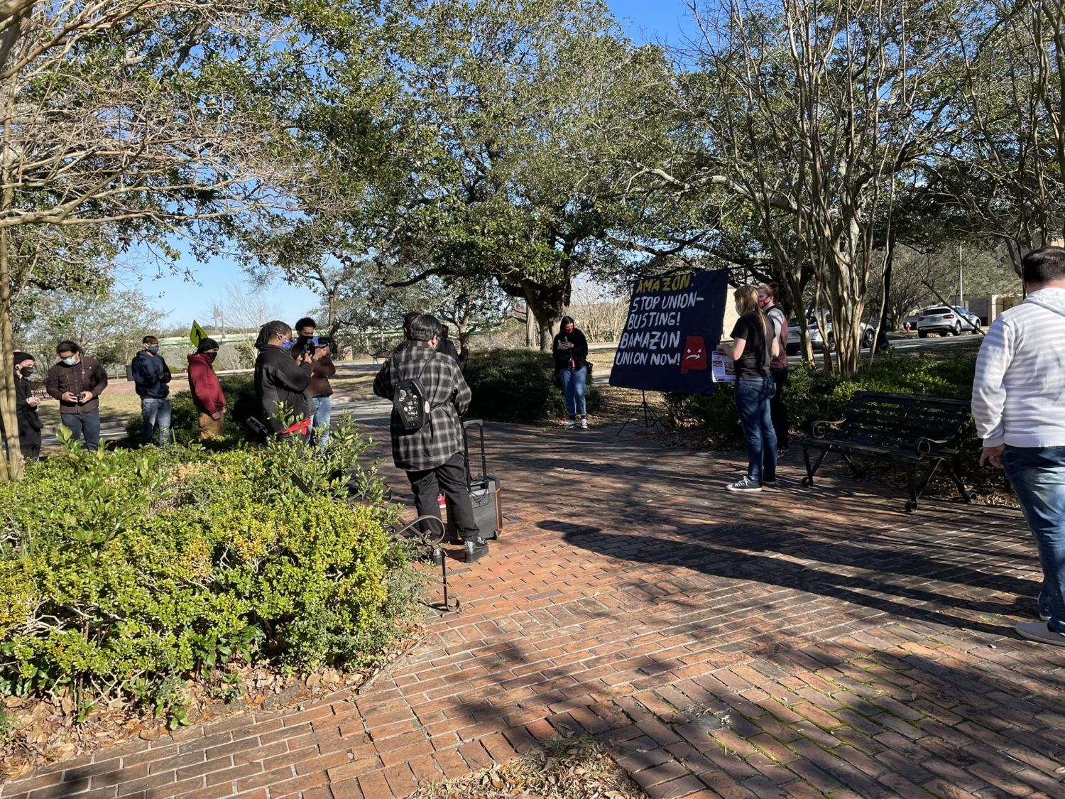 Pensacola-Florida-Amazon-workers-support-protest-022021-1, Black Workers Matter! Nationwide protests supporting Amazon workers in Alabama from the Bay to Harlem, National News & Views Photo Gallery