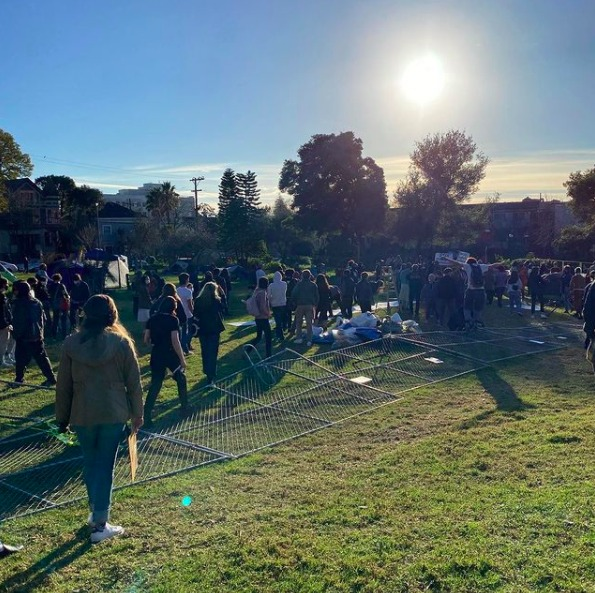 Peoples-Park-protest-fences-down-012921-by-@peoplesparkberkeley, From UC Berkeley to UC Hastings: Colleges steal and hoard land, lives and resources, Local News & Views