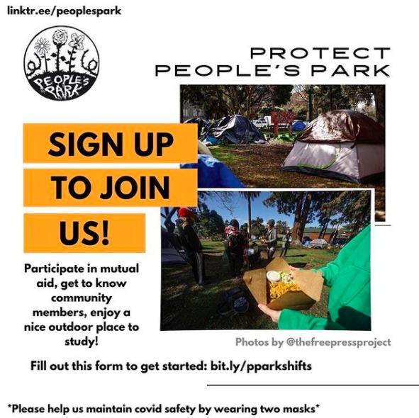 Peoples-Park-protest-mutual-aid-021821-by-@peoplesparkberkeley, From UC Berkeley to UC Hastings: Colleges steal and hoard land, lives and resources, Local News & Views