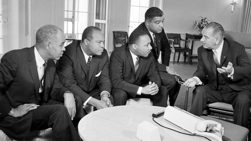 President-Lyndon-Johnson-with-Roy-Wilkins-James-Farmer-Dr.-Martin-Luther-King-Jr.-Whitney-Young-011864-by-AP, White rage, National News & Views