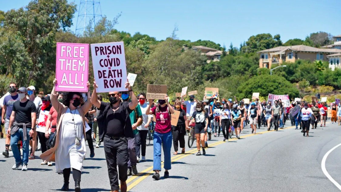 Protestors-march-to-San-Quentin-Prison-080220-by-Jose-Carlos-Fajardo-Bay-Area-News-Group, Nixing prison time for certain crimes among proposed changes to California Penal Code, Behind Enemy Lines