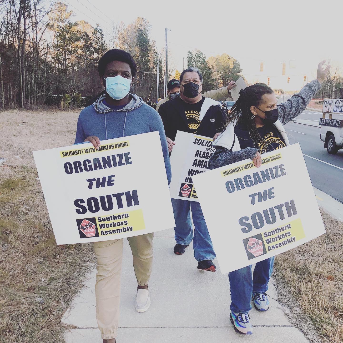 Raleigh-North-Carolina-Amazon-workers-support-protest-022021-1, Black Workers Matter! Nationwide protests supporting Amazon workers in Alabama from the Bay to Harlem, National News & Views Photo Gallery