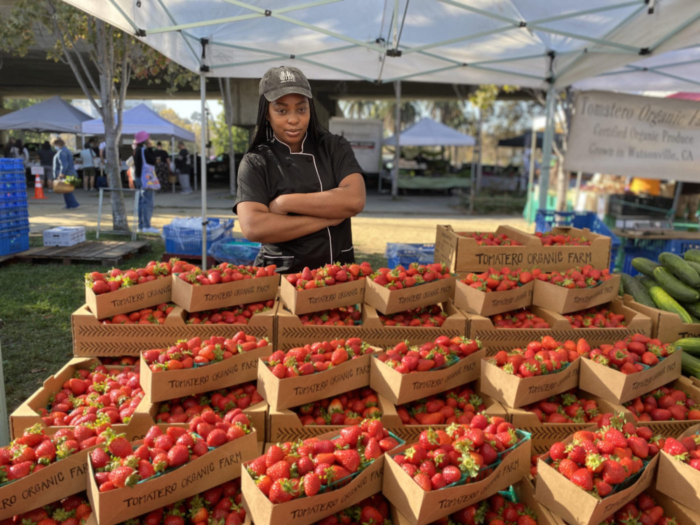 Chef-Erin-Williams-WeFeastSF-checks-out-Tomatero-Farm-strawberries-1-1400x1050, WeFeastSF: Bayview native Chef E. cooks up fresh Creole and Southern food for the community, Culture Currents