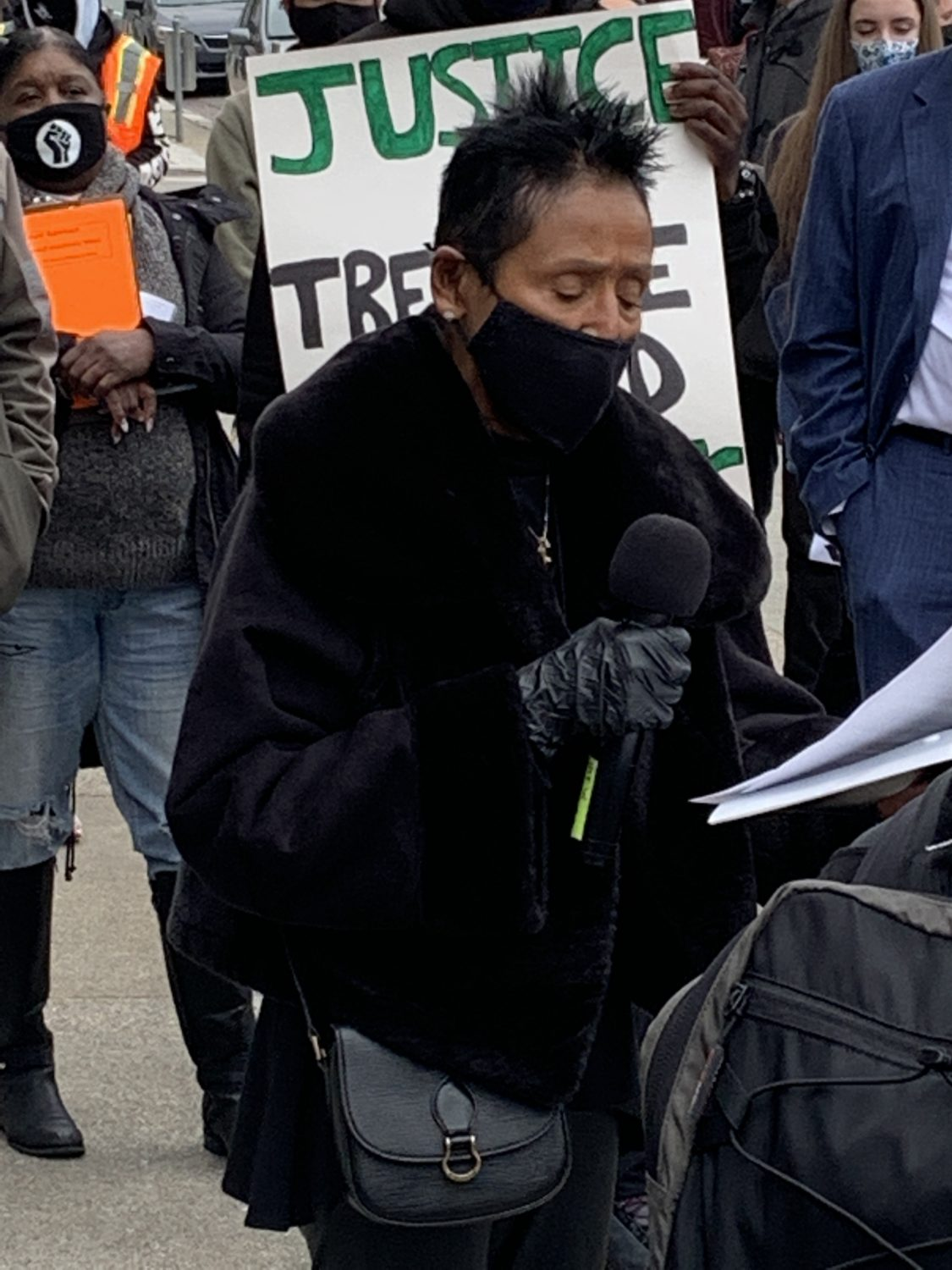 Elaine-Brown-reads-Gwen-Woods-statement-Earth-Day-042221-by-Malik, Earth Day 2021 in San Francisco!, Local News & Views