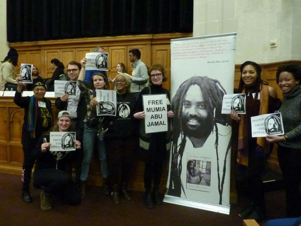 Mumia-replaces-Krasner-as-speaker-at-Rebellious-Lawyering-Conference-at-Yale-Law-School-021519-4, Protest KQED censorship of Mumia Abu-Jamal in new documentary 'Philly D.A.', Behind Enemy Lines