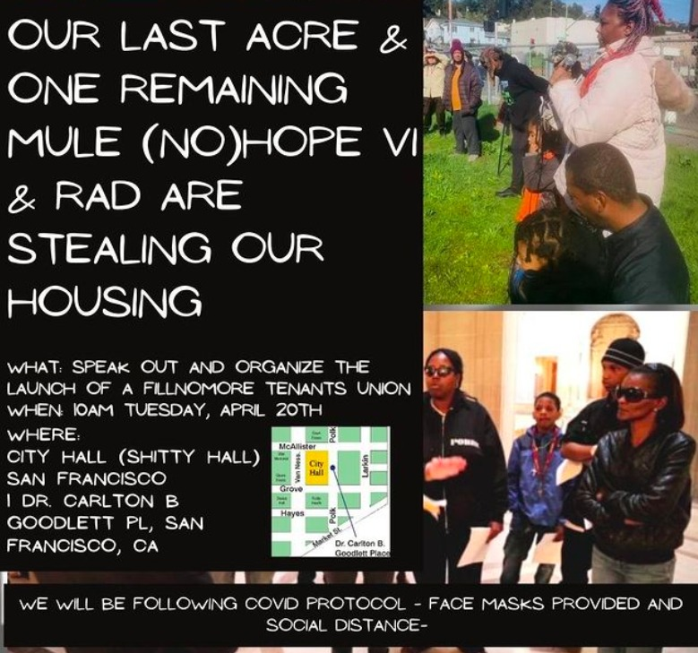 Stealing-our-last-acre-and-one-remaining-mule-POOR-Magazine-speak-out-flier-042021, Stealing our last acre and one remaining mule: Black, Brown and no income San Francisco residents resist Housing Authority's displacement, demolition and privatization of public housing, Local News & Views