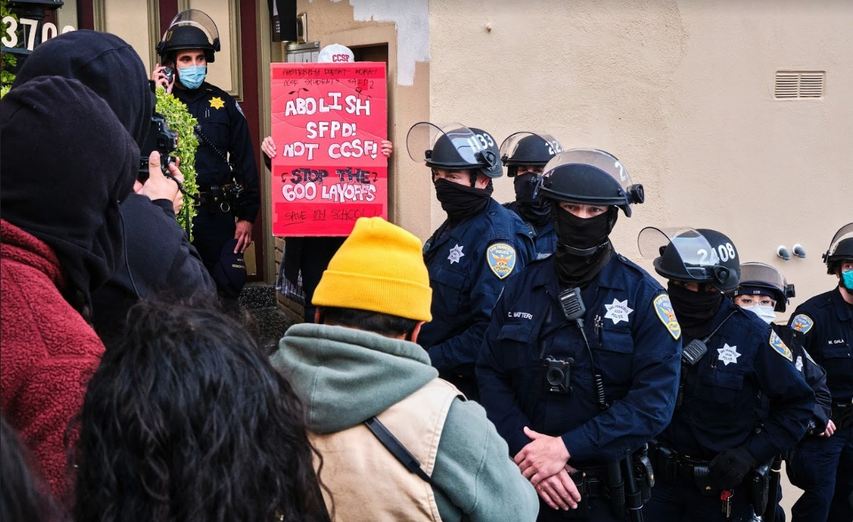 AAPI-Black-Solidarity-Save-CCSF-rally-SFPD-in-riot-gear-intimidate-mostly-BIPOC-students-community-'Abolish-SFPD-Not-CCSF-Stop-the-600-layoffs-by-Glenn-Mercado, To City College Trustee Tom Temprano and the Board of Trustees, Local News & Views