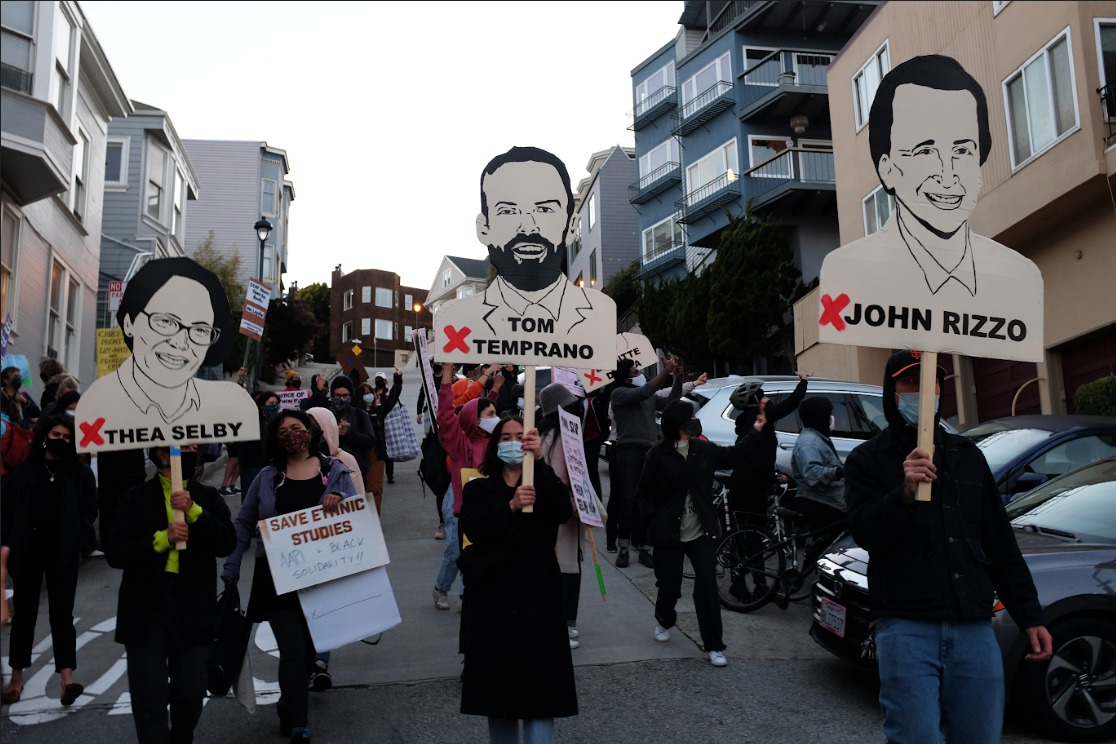 AAPI-Black-Solidarity-Save-CCSF-rally-marches-from-Mission-High-to-Tom-Tempranos-house-w-gigantic-signs-calling-out-trustees-Thea-Selby-Tom-Temprano-John-Rizzo-050621-by-Nick-DeRenzi, To City College Trustee Tom Temprano and the Board of Trustees, Local News & Views